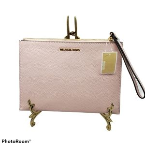 NWT Michael Kors Pink Leather Zip Clutch